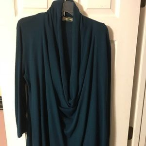 Teal Cowl Neck Long-Sleeve Sweater Tunic